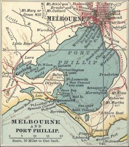 Map of Melbourne (C. 1900), Maps by Encyclopaedia Britannica