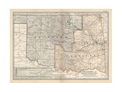 Map of Oklahoma and Indian Territory. United States