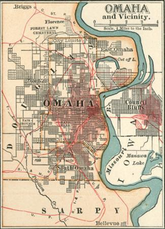 Map of Omaha and Vicinity by Encyclopaedia Britannica