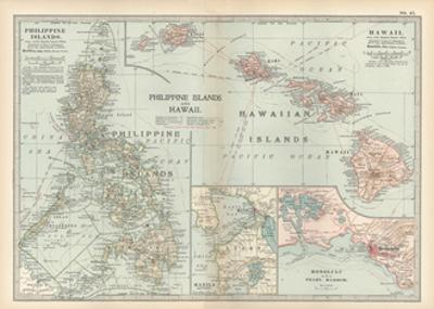 Map of Philippine Islands and Hawaii. Insets of Manila and Vicinity and Honolulu and Pearl Harbor by Encyclopaedia Britannica