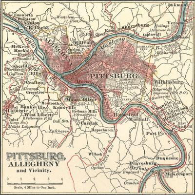 Map of Pittsburg, Now Spelled Pittsburgh (C. 1900)