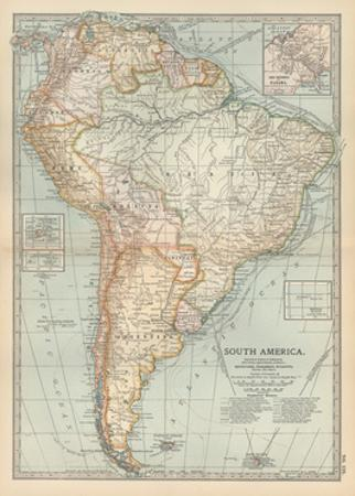 Map of South America. Inset Map of the Isthmus of Panama and the Panama Canal by Encyclopaedia Britannica