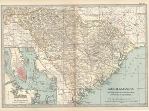 Map of South Carolina. United States. Inset Map of Charleston, Harbor and Vicinity by Encyclopaedia Britannica