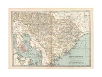 Map of South Carolina. United States. Inset Map of Charleston, Harbor and Vicinity