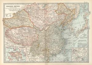 Map of the Chinese Empire (China). Insets of Hong Kong (British), and Peking (Beijing) by Encyclopaedia Britannica