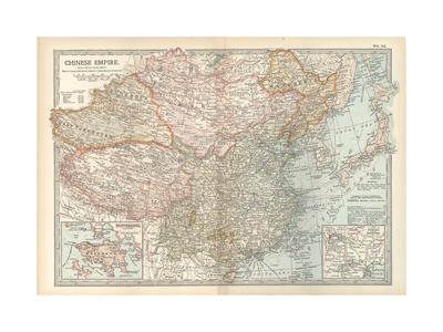 Map of the Chinese Empire (China). Insets of Hong Kong (British), and Peking (Beijing)