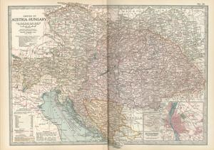 Map of the Empire of Austria-Hungary. Inset of Budapest and Vicinity by Encyclopaedia Britannica