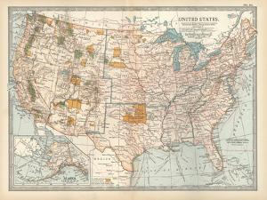 Map of the United States. Inset of Alaska by Encyclopaedia Britannica