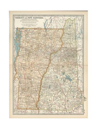 Map of Vermont and New Hampshire, United States