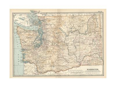 Map of Washington State. United States