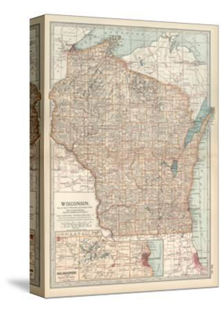 Map of Wisconsin. United States. Inset Map of Milwaukee and the Waukesha Lake Region