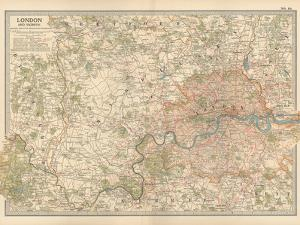Plate 10. Map of London and Vicinity. England by Encyclopaedia Britannica