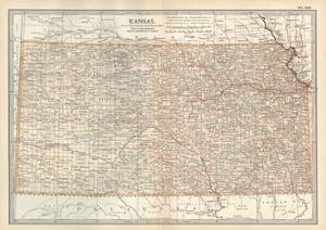 Plate 105. Map of Kansas. United States by Encyclopaedia Britannica