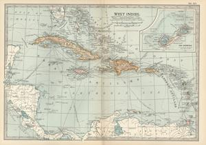 Plate 117. Map of the West Indies. Inset Map of the Berudas by Encyclopaedia Britannica