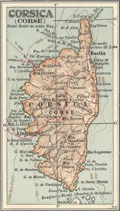 Plate 18. Inset Map of Corsica (Corse). Europe by Encyclopaedia Britannica