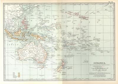 Plate 49. Map of Oceanica (Oceania). Australia by Encyclopaedia Britannica