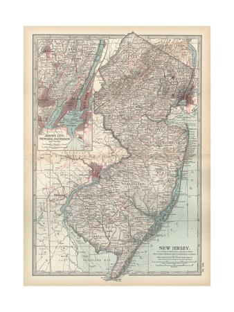 Plate 72. Map of New Jersey. United States. Inset Map of Jersey City