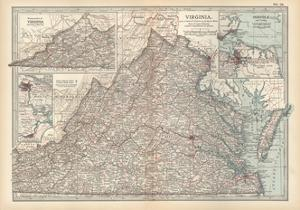 Plate 76. Map of Virginia. United States. Inset Maps of Western Part of Virginia by Encyclopaedia Britannica