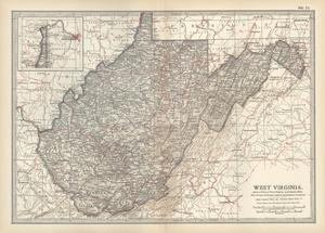Plate 77. Map of West Virginia. United States by Encyclopaedia Britannica