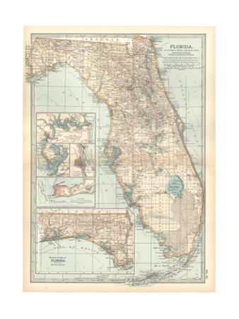 Plate 81. Map of Florida. United States. Inset Maps of Jacksonville