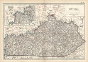 Plate 82. Map of Kentucky. United States by Encyclopaedia Britannica