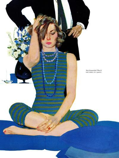 "End of a Marriage - Saturday Evening Post ""Leading Ladies"", April 13, 1957 pg.27-Coby Whitmore-Giclee Print"