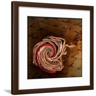 End View of a Rolled Notebook with Hand Written Script-Trigger Image-Framed Photographic Print