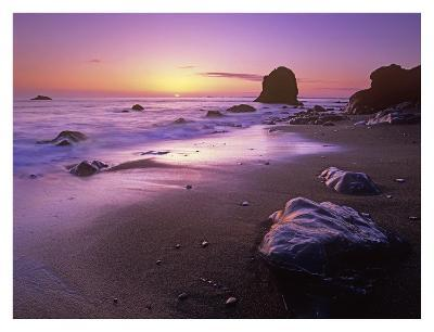 Enderts Beach at sunset, Redwood National Park, California-Tim Fitzharris-Art Print