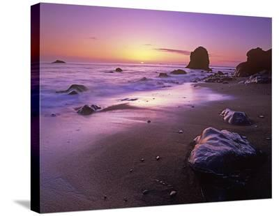 Enderts Beach at sunset, Redwood National Park, California-Tim Fitzharris-Stretched Canvas Print