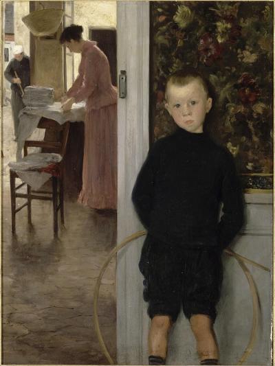Enfant et femme dans un intérieur-Paul Mathey-Giclee Print