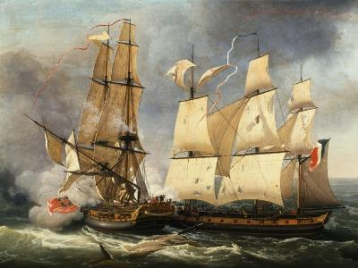 Engagement Between French Corvette La Bayonnaise and English Frigate The Ambush, 14 December 1798-Jean-Francois Hue-Giclee Print