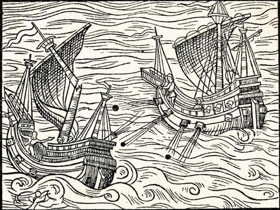'Engagement Between Two Merchant Ships Off The Coast of Iceland', 1555-Unknown-Giclee Print