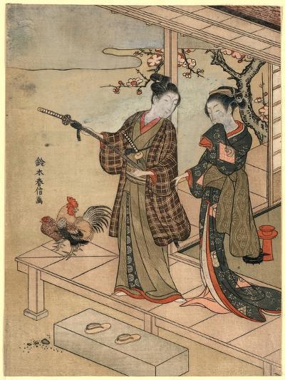 Engawa No Wakashu to Onna-Suzuki Harunobu-Giclee Print