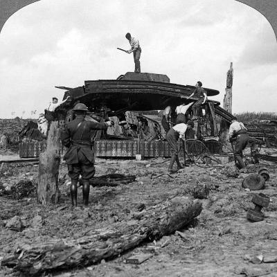 Engineers Clearing a Destroyed Tank from a Road, World War I, 1917-1918--Photographic Print