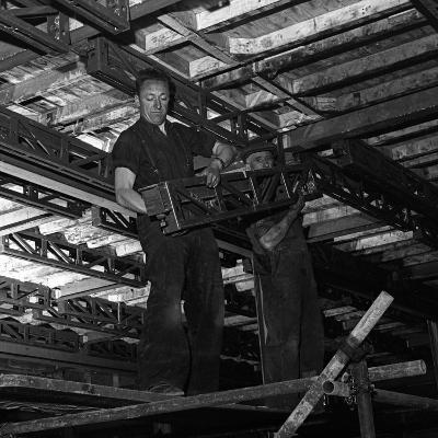 Engineers Lifting Steelwork into Position, South Yorkshire, 1954-Michael Walters-Photographic Print