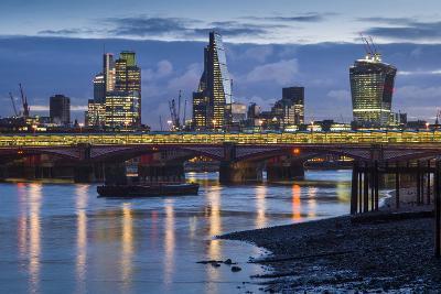 England, London, City, Skyline from Blackfriars Bridge, Dawn-Walter Bibikow-Photographic Print