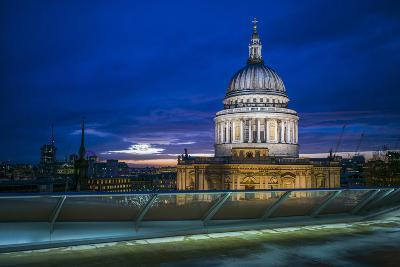 England, London, City, St. Pauls Cathedral from One New Change, Dusk-Walter Bibikow-Photographic Print