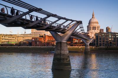 England, London, Millennium Bridge and St. Pauls Cathedral, Dawn-Walter Bibikow-Photographic Print
