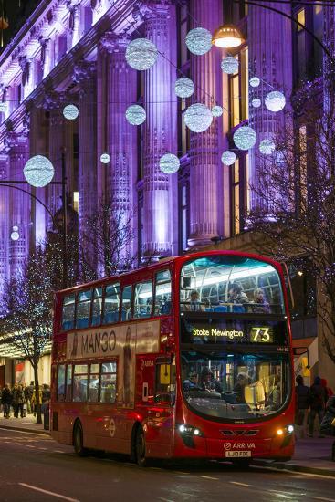England, London, Soho, Oxford Street, Chirstmas Decorations and London Bus-Walter Bibikow-Photographic Print
