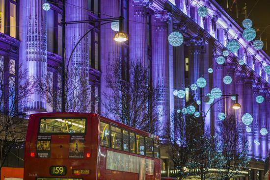 England, London, Soho, Oxford Street, Christmas Decorations and Bus-Walter Bibikow-Photographic Print
