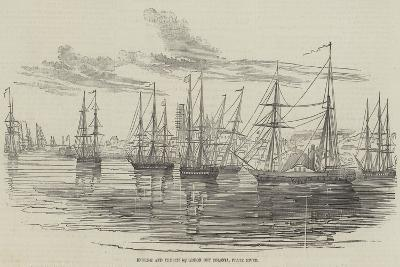 English and French Squadron Off Colonia, Plate River--Giclee Print
