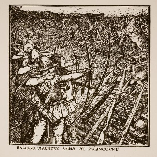 English Archery Wins at Agincourt, Illustration from 'A History of England'-Henry Justice Ford-Giclee Print