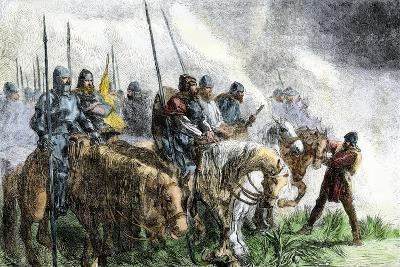 English Army on the Morning of Battle at Agincourt, Hundred Years' War, 1415--Giclee Print