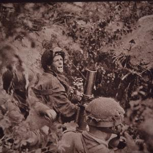 British Paratroopers Bombard German Positions with Mortars, Battle of Arnhem, 1944 (B/W Photo) by English