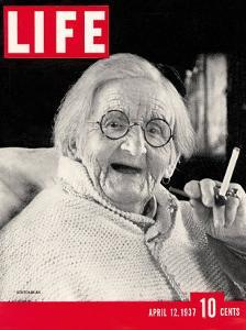 English Centenarian Smoking a Cigarette, April 12, 1937