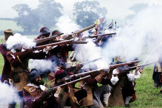 English Civil War, Musket Fire in Battle, Historical Re-Enactment--Giclee Print