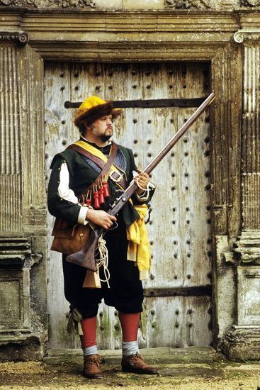 English Civil War Musketeer, Re-Enactment--Giclee Print