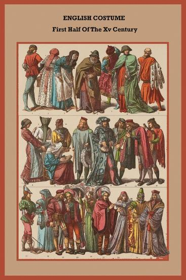 English Costume First Half of the XV Century-Friedrich Hottenroth-Art Print