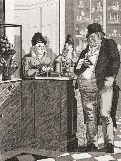 English Gentleman Paying the Bill in a Parisian Restaurant--Giclee Print