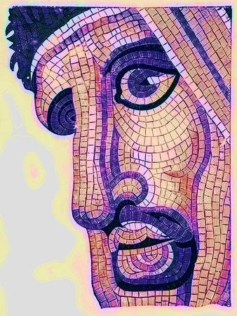 Head in Mosaic, from 'The Battle of Issus', Illustration from 'Historic Ornament' by James Ward